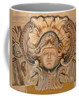 Coffee Mug featuring the painting Face On The Wall by Joe Bergholm