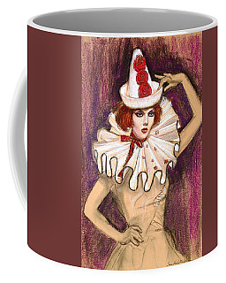 Coffee Mug featuring the drawing Fashion Clown by Sue Halstenberg