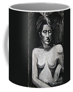 Coffee Mug featuring the drawing Feathers by Gabrielle Wilson-Sealy