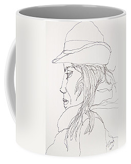 Coffee Mug featuring the drawing Female Portrait 017 by Rand Swift