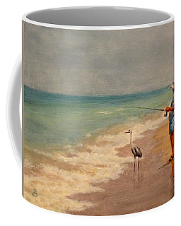 Coffee Mug featuring the painting Fishing Friends by Joe Bergholm