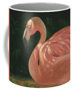 Coffee Mug featuring the painting Flamingo In Dappled Light by Joe Winkler