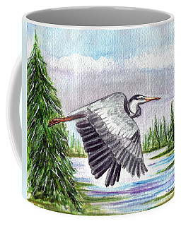 Coffee Mug featuring the painting Flight Of Fantasy by Clara Sue Beym