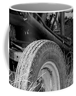 Coffee Mug featuring the photograph Ford Tractor Details In Black And White by Jennifer Ancker