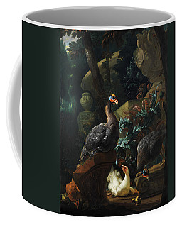 Park Landscape With Guinea Fowl, Chicken And Chicks Coffee Mug