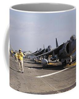 Four Av-8b Harrier Jets Line Coffee Mug