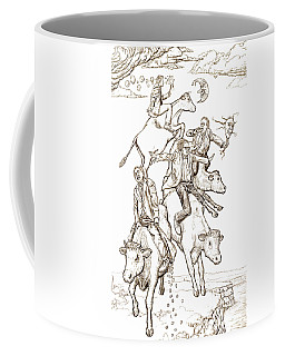 Coffee Mug featuring the digital art Four Mad Cowboys Of The Apocalypse by Russell Kightley