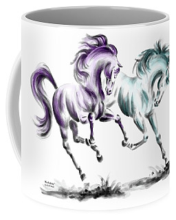 Frolicking - Wild Horses Print Color Tinted Coffee Mug