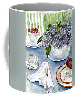 Coffee Mug featuring the painting Garden Tea Party by Clara Sue Beym