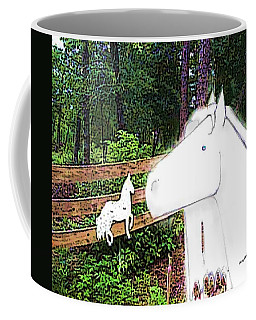 Coffee Mug featuring the drawing Ghost Horse by George Pedro