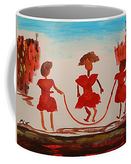 Girls In Red Dresses Jump Rope Coffee Mug by Mary Carol Williams