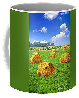 Golden Hay Bales In Green Field Coffee Mug