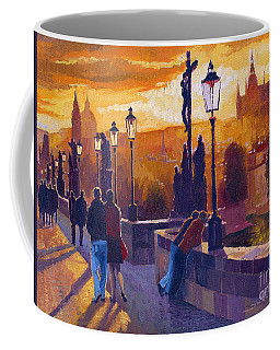 Golden Prague Charles Bridge Sunset Coffee Mug