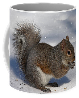 Gray Squirrel On Snow Coffee Mug