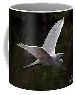 Coffee Mug featuring the photograph Great Egret Flying by Art Whitton
