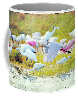 Coffee Mug featuring the photograph Great Egret Flying by Dan Friend