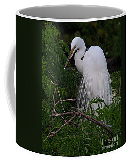 Coffee Mug featuring the photograph Great Egret Nesting by Art Whitton
