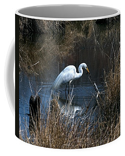 Coffee Mug featuring the photograph Great Egret With Fish Dmsb0034 by Gerry Gantt