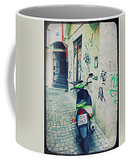 Green Vespa In Prague Coffee Mug
