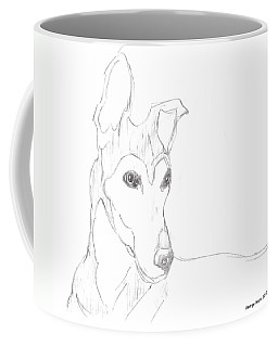 Coffee Mug featuring the drawing Greyhound by George Pedro