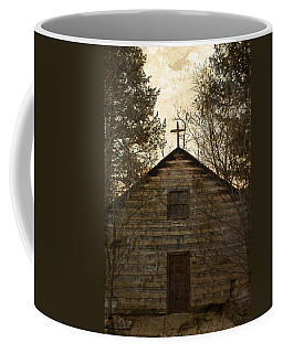 Grungy Hand Hewn Log Chapel Coffee Mug