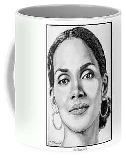 Coffee Mug featuring the drawing Halle Berry In 2008 by J McCombie