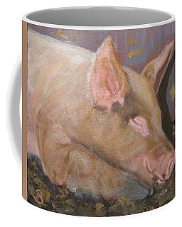 Coffee Mug featuring the painting Happy As A Pig by Joe Bergholm