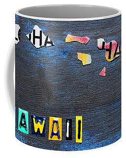 Hawaii License Plate Map Coffee Mug
