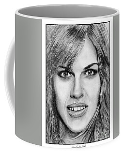 Coffee Mug featuring the drawing Hilary Swank In 2007 by J McCombie