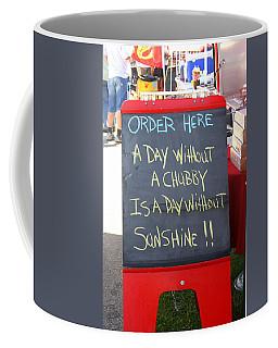 Coffee Mug featuring the photograph Hot Dog Stand Humor by Kay Novy