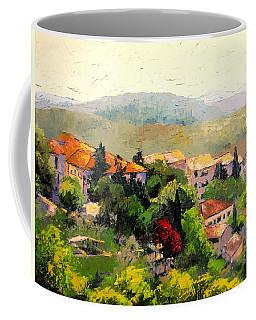 Italian Hillside Village Oil Painting Coffee Mug