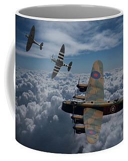 Lancaster Bomber And Spitfires Coffee Mug