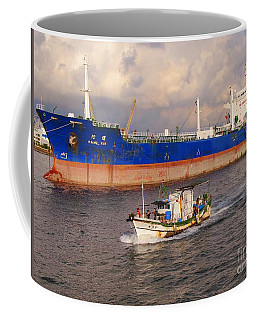 Large Oiltanker And Chinese Fishing Boat Coffee Mug