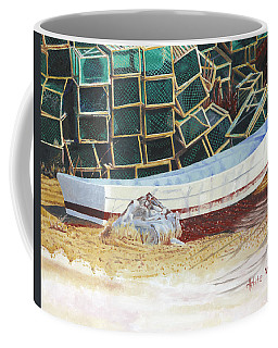 Coffee Mug featuring the painting Lobster Traps And Dory by Dominic White