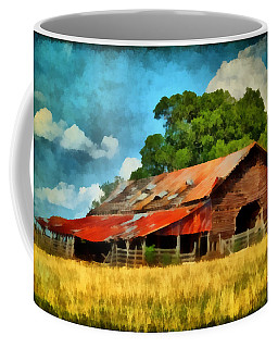 Coffee Mug featuring the painting Long Road Barn by Lynne Jenkins
