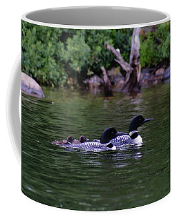 Loons With Twins 2 Coffee Mug by Steven Clipperton