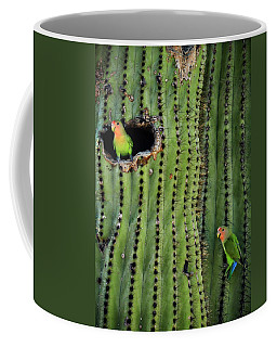 Lovebirds And The Saguaro  Coffee Mug