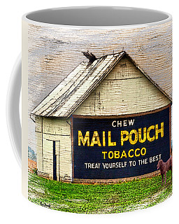 Coffee Mug featuring the digital art Mail Pouch Barn by Mary Almond