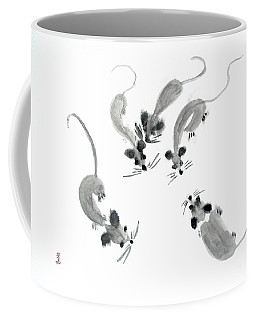 Mice - Sumie Style Coffee Mug by Yoshiko Mishina