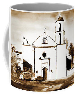 Coffee Mug featuring the painting Mission San Luis Rey In Sepia by Kip DeVore