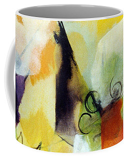 Modern Art With Yellow Black Red And Fanciful Clouds Coffee Mug
