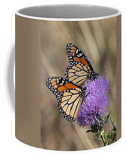 Coffee Mug featuring the photograph Monarch Butterflies On Field Thistle Din162 by Gerry Gantt