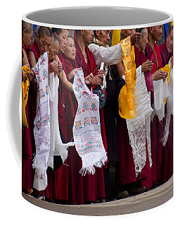 Coffee Mug featuring the photograph Monks Wait For The Dalai Lama by Don Schwartz