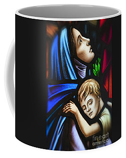 Coffee Mug featuring the photograph Mother And Child Stained Glass by Verena Matthew