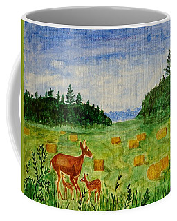 Coffee Mug featuring the painting Mother Deer And Kids by Sonali Gangane