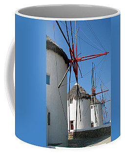 Coffee Mug featuring the photograph Mykonos Windmills by Carla Parris