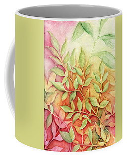 Coffee Mug featuring the painting Nandina Leaves by Carla Parris