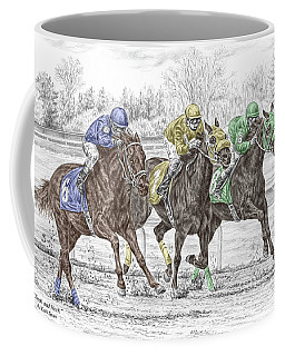 Neck And Neck - Horse Race Print Color Tinted Coffee Mug