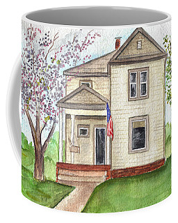 Coffee Mug featuring the painting Ohio Cottage With Flag by Clara Sue Beym