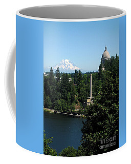 Coffee Mug featuring the photograph Olympia Wa Capitol And Mt Rainier by Phyllis Kaltenbach